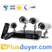 Buy cheap SecurONE - H.264 DVR + 4 x Weatherproof IP Cameras + 500GB HDD (Outdoors Ed.) from wholesalers
