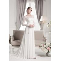 Long lace sleeves backless draped chiffon wedding dress wholesale Manufactures