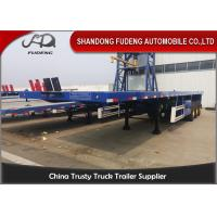 China 40 Tons Flatbed Container Semi Trailer With Front Board For Sale on sale