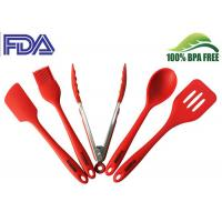 Buy cheap Red Silicone Kitchen Utensils Set With Brush / Turner / Tongs / Spatula And Spoon from wholesalers