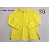 Buy cheap Yellow Plain Baby Clothes Cotton Jersey Boys Long Sleeve Polo Shirts With Front Placket from wholesalers