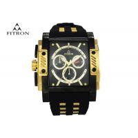 Large Face Mens Watches , Rectangular Black And Gold Wrist Watch Anti Scratch