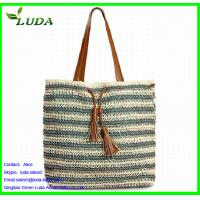 Buy cheap Crochet Paper String Woven Tote Bags w/PU Leather from wholesalers