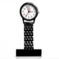 Buy cheap Fancy Black Stainess Steel Quartz Nurse Fob Watch / Gel With logo Print from wholesalers