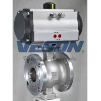 Buy cheap V Port 150# Flanged Pneumatic Ball Valve Via Stainless Steel Bracket And Coupling from wholesalers