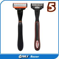 China Black handle system razor 5 blades with trimmer blade mens shaver on sale
