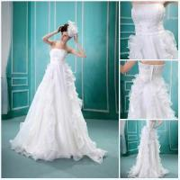 Real Sample Sleeveless Fastener Ruffle Floor Length Wedding Dress (BS-016) Manufactures