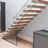 Wholesale Villa indoor floating solid wood tread open stairs/staircases timber floating stair from china suppliers