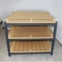 Buy cheap Anti Rust Retail Store Iron Promotion Wooden Display Rack With Barrier / Wood Display Stand from wholesalers