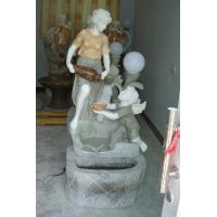 Buy cheap colorful marble carved lady and playing children garden water fountain from wholesalers