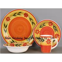 Buy cheap ceramic 16 pcs handpainted   dinnerware sets,colorful  stoneware dinner set from wholesalers
