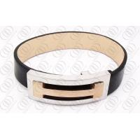 Genuine Leather Stylish Gold Bangle magnetic therapy bracelet Laser engraved Manufactures
