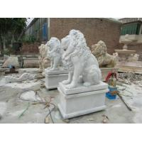 Buy cheap Garden decoration statues outdoor granite handcarved lions sculptures white beige colour stone lions from wholesalers