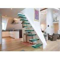 Buy cheap Simple modern laminated glass stair railings floating staircase glass indoor stairs from wholesalers
