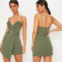 Buy cheap Women Khaki Tux Detail Belted Wrap Bodycon Dress With Spaghetti Strap from wholesalers