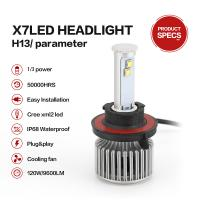 Buy cheap High Power Super White color LED Car Headlight Bulbs X7 H13 Cree Chips 80W from wholesalers