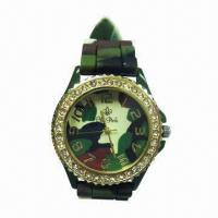 Buy cheap Camouflage Silicone Quartz Watch with Crystal Decoration, Compliant with CPSIA Requirement from wholesalers