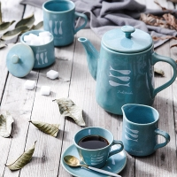 Buy cheap Fish Decal Reactive Glazed 1000ml Turquoise Aqua Teapot from wholesalers