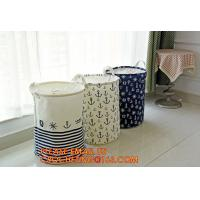 Buy cheap Organize Storage Natural Canvas Clothes Basket, Cute Round Canvas Bathroom Clothes Storage Basket Hamper Tote Bag/ Stora from wholesalers