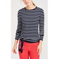 Buy cheap WOMEN'S 54% COTTON/44% MODAL/2% SPANDEX PULLOVER KNITTED STRIPE SWEATER WITH TIE FRONT from wholesalers