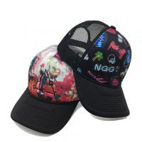 Wholesale 100% ployester Digital  Printing 5-panel hat air-mesh trucker caps Customize kids  trucker hats black&white size 57-60CM from china suppliers