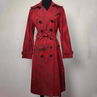 Buy cheap Jacquard Ladies Fashion Wear , Red / Green Double Breasted Peacoat from wholesalers