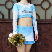 Buy cheap Cool Custom Crystal Soft Cheerleader Costume Uniforms With Mesh And Lace Fabric from wholesalers