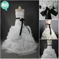 New Arrived 2012 Sexy Straps Sheath Beaded Flower Organza Satin Fashionable Prom Dress (WD-001) Manufactures