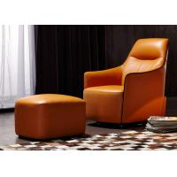 Buy cheap OEM Bedroom Modern Style Wooden Lounge Chair With Orange Color Leather from wholesalers