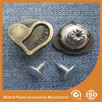 Buy cheap Heart Shape Jeans garment clothes Button with Zinc And Brass Material product