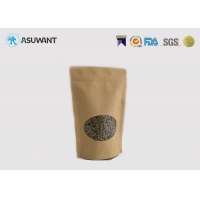 Buy cheap FDA Resealable Plastic Lined Stand Up Brown Kraft Paper Food Packaging Bag With Clear Window from wholesalers