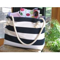 rope handle Navy stripe canvas beach tote bag / extra large ...