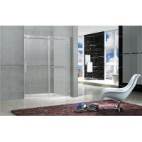 China Clear / Printed Tempered Frameless Sliding Glass Doors With Stainless Steel Towel Bar on sale