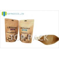 Moisture Proof zipper stand up food pouch , Nuts kraft paper packaging Manufactures