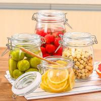 Buy cheap Custom Airtight Square Glass Storage Bottle Jar With Clip Lids Various Size Available from wholesalers