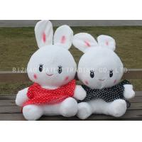 China White Stuffed RabbitToy Lace Red And Black Spotted Dress RabbitPlush Toys on sale