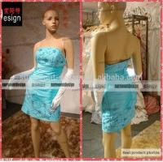 Buy cheap Simple Design Mini Length Strapless Sky Blue Satin Short Cheap Evening Dress Online from wholesalers