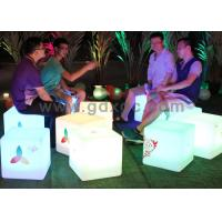 LED Ottoman Cube Bar Chairs , Rechargeable Waterproof Glowing Cube Table Manufactures