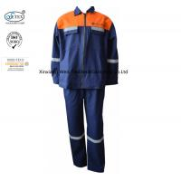 Buy cheap Cotton Canvas Two Tone Blue Orange Fr Suit With Reflector Welders Working from wholesalers
