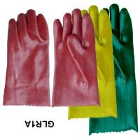 China Red , blue smooth finish interlock lining PVC Glove with Abrasion resistant PVCITL107 on sale