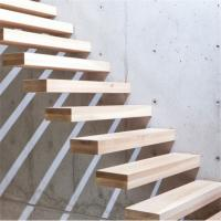 Buy cheap Customized wood floating stairs with prefab steel stair railing from wholesalers