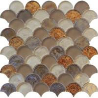 Brown blend color water waving glass mosaic for counter decoration Manufactures