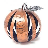 Buy cheap Small Orange Band Metal Band Decorative Pumpkin Sphere With Galvanized Leaves from wholesalers
