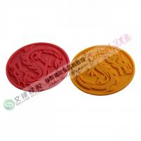 Wholesale Red, Brown Heat-proof Round Cup Silicone Kitchen Mat with Dragon Pattern from china suppliers