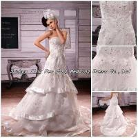 2012 Beaded Sequins Layered Tulle Ribbon Trim Chapel Train Wedding Dress (BS-046) Manufactures