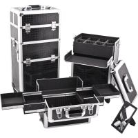 Wholesale Women ABS Trolley Makeup Box , Black Cosmetic Makeup Trolley Case from china suppliers