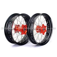 China 17 Inch Custom Anodized Motorcycle Wheels , Black Spoked Motorcycle Wheels on sale