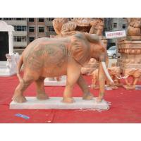 Buy cheap Hand carved red elephant animal statue living stone animals from wholesalers
