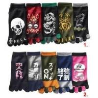 Buy cheap Cool Black 100% cotton printed Fire Dragon Japan five funny toe socks for boys from wholesalers