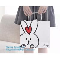 Buy cheap Pink paper bag Customized gold embossed Logo Gift Shopping Paper Bag With Ribbon Bow Handles Style,pink yellow, blue, pa from wholesalers